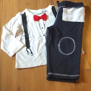 First Impressions Play bow tie LST & pants set 18M
